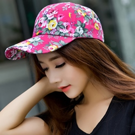 Ethnic Style Flowery Printed Baseball Hat