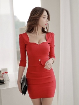 Ericdress Plain Square Neck Bodycon Dress