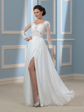 Eridress Sexy Appliqies A Line Long Sleeves Wedding Dress