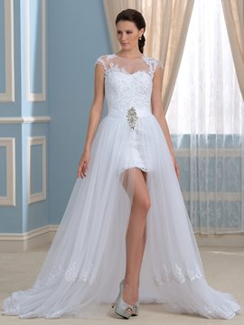 Ericdress Sexy Jewel Appliques Beading Asymmetry Wedding Dress