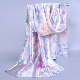 Pastoral Style Colorful Butterfly Printed Silklike Scarf