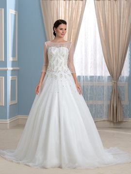Ericdress Gorgeous Bateau Beading 3/4 Length Sleeves Wedding Dress