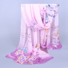 Ethnic Style Magpie Decorated Chiffon Scarf