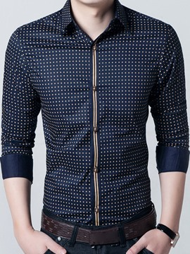 Ericdress Polka Dots Patched Long Sleeve Men's Shirt