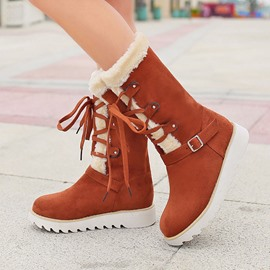 Ericdress Pretty Lace-up Flat Boots