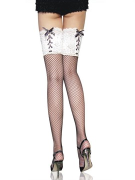 Ericdress Lace Patchwork Fishnet Stocking