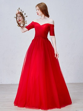 Ericdress Off-The-Shoulder Half Sleeve Evening Dress