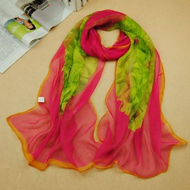 Elegant Big Flower Printed Trendy Chiffon Scarf