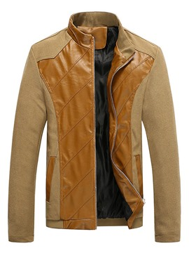 Ericdress Patchwork Plus Size Zip Men's Jacket