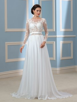 Ericdress Sexy Backless Long Sleeves Wedding Dress