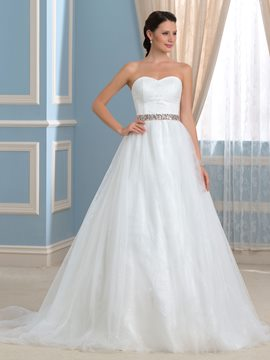 Ericdress Simple Sweetheart Beading Court Train A Line Wedding Dress