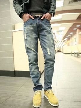 Ericdress Holes Casual Denim Men's Pants