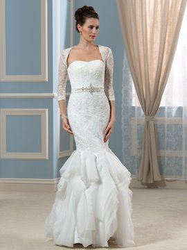 Ericdress Fancy Sweetheart Appliques Beading Mermaid Wedding Dress