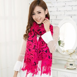 Delicate and Charming Rose Decorated Vogue Voile Scarf