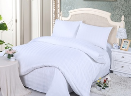 Ericdress White Stripe 4-Piece Cotton Bedding Sets