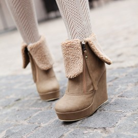 Ericdress Elegant Wedge Ankle Boots with Zipper