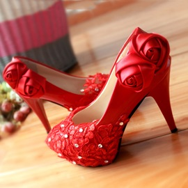 Ericdress Lace Rose&rhinestone Wedding Shoes