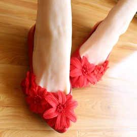 Ericdress Amazing Red Flower Wedding Shoes