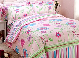 Ericdress Butterfly on Flower Print Kids Bedding Sets