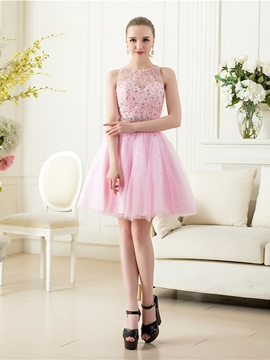 Ericdress A-Line Scoop Neck Beading Backless Homecoming Dress