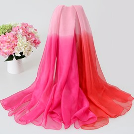 Gradient Pattern Korean Style Lengthening Chiffon Scarf