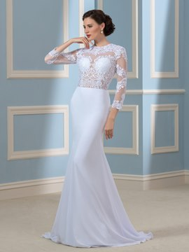 Ericdress Sexy Jewel 3/4 Length Sleeves Backless Mermaid Wedding Dress