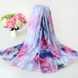 Brilliant Flower Decorated High Quality Chiffon Scarf