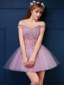 Ericdress Off-The-Shoulder Appliques Short Homecoming Dress