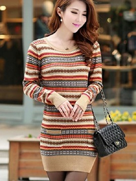 Ericdress Round Neck Slim Sweater Dress