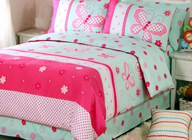 Ericdress Fairy Pink Butterfly Print Kids Bedding Sets