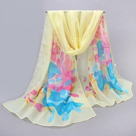 Geometric Print Decorated Concise Chiffon Scarf