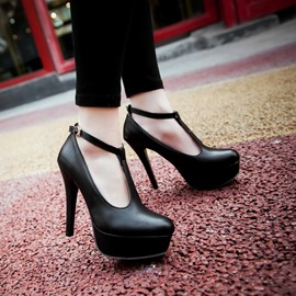 Ericdress High-quality PU T-Strap High Heel Pumps