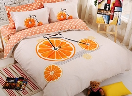Ericdress Orange Bike Print Kids Bedding Sets
