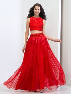 Ericdress Two Piece Beading Hollow Lace Prom Dress