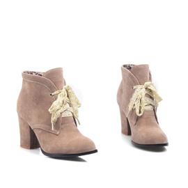 Ericdress Lace-up Suede High Heel Boots
