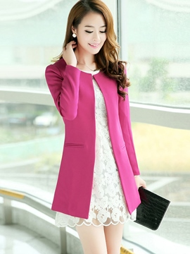 Ericdress Plain Cardigan Trench Coat