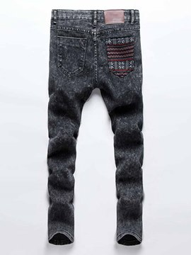 Ericdress Patched Denim Men's Pencil Pants