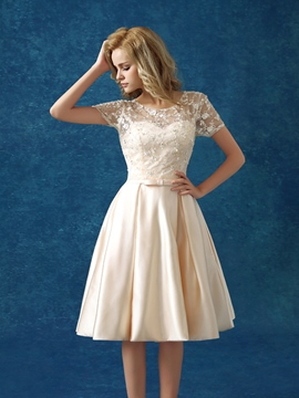 Ericdress A-Line Short Sleeve Lace Cocktail Dress