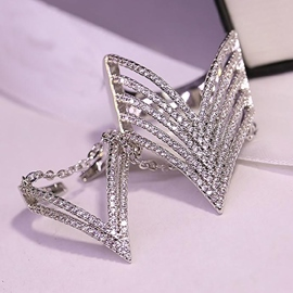 Unique Double Linked Alloy Ring