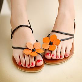 Ericdress Sweet Flower Clip-toe Flat Sandals