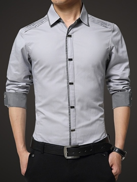 Ericdress Patched Slim Long Sleeves Cotton Men's Shirt