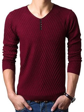 Ericdress Plain Stripe Buttons Decorated Men's Sweater