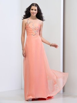 Ericdress Sheer Neck Pleats Beading Sequins Prom Dress