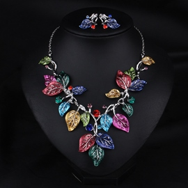 Ericdress Exaggerate Colorful Leaves Jewelry Set