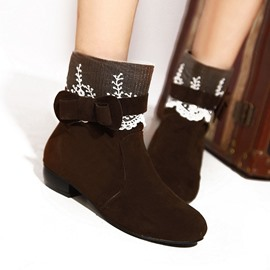 Ericdress Lace Ankle Boots with Bowtie