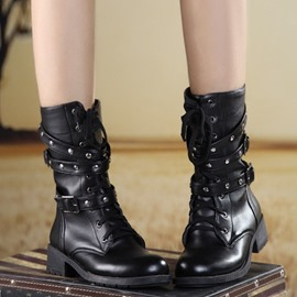 Ericdress High-quality Lace-up Flat Boots