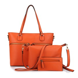 Ericdress Solid Color Zipper Decorated Tote Bags(3 Bags)