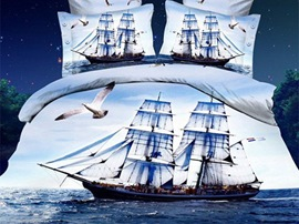 Ericdress Sailboat Voyage Print 4 Piece 3D Bedding Sets