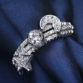 Ericdress Castle In Sky Moon Star Zircon Ring