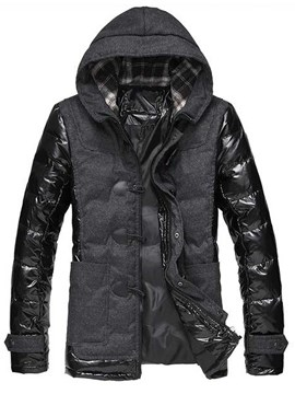 Ericdress Patchwork Zip Hooded Men's Down Coat